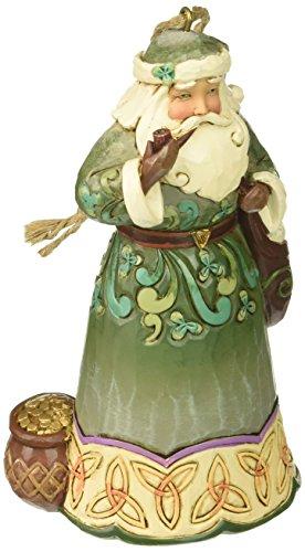 """Jim Shore Heartwood Creek Irish Santa with Pipe Stone Resin Hanging Ornament, 4.75"""""""