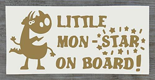Sticker Monster on Board Little Mon - Star on Board - Sticker amusant Baby on Board - 9 cm x 20 cm - HSS012, Vinyle, doré, Single Mon-Star