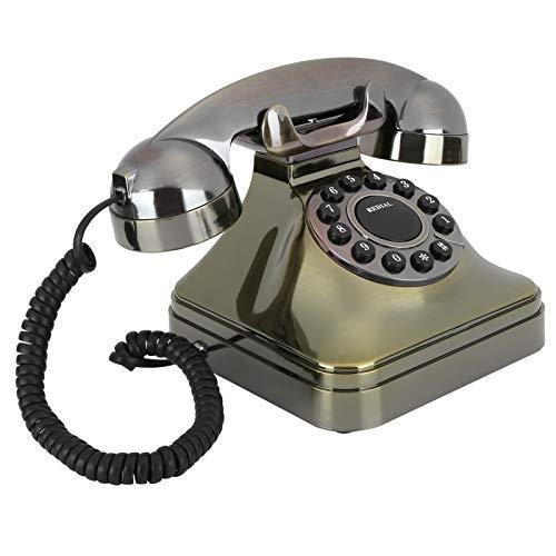 Ruleta Antigua Teléfono Fijo Teléfono de Bronce Antiguo Modelado Vintage Estilo Antiguo para el hogar Decoración de la Oficina del Hotel Un Regalo para la Abuela