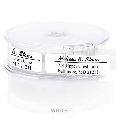 Modern Classic Rolled Return Address Labels with Elegant Plastic Dispenser - White