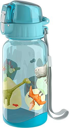 HABA 305152 - Trinkflasche Dinos, 400 ml Kindertrinkflasche mit Dino-Motiv, mit großer Öffnung und Verschlusskappe, läuft nicht aus, BPA-freier Kunststoff, für die Spülmaschine