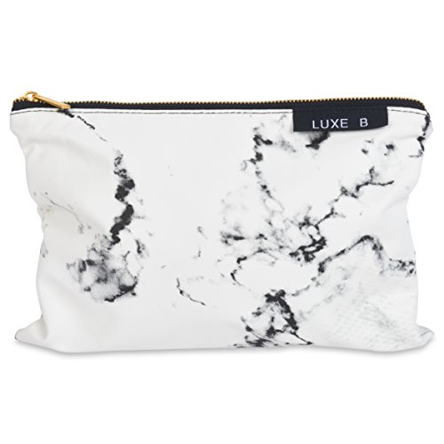 Luxe B Marble Big Makeup Bag Gold Zipper Travel Size Large Cosmetic Cute Makeup Case Train Bags Pouch Kit Brush Organizer Toiletry Travel Fashionable Marble Accessories For Women 11 X 7 inches