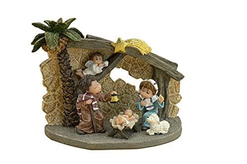 Nadal - Portal de Belén con palmera tamaño 15x8x11 centímetros,