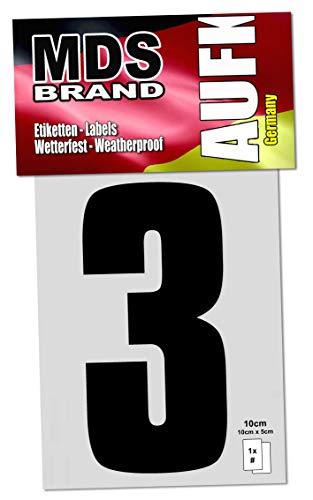 MDS Brand 10cm Zahlenaufkleber Klebezahlen Selbstklebend Aufkleber und Nummer Etiketten Schwarz (3)