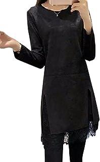 (ボヌール) BONHEUR ワンピース パーティー ドレス 結婚式 2次会 レース きれいめ ミニ丈 長袖 スエード生地 クルーネック スリット ピンク ブラック 2色