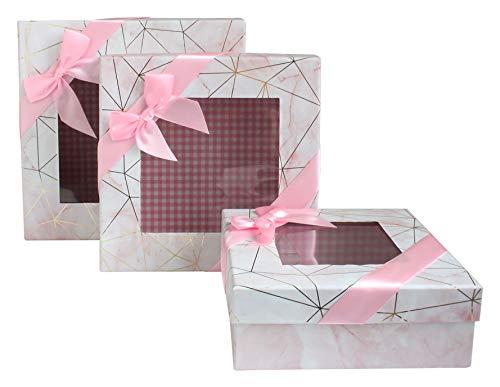 Emartbuy Conjunto de 3 Caja de Regalo de Presentación de Lujo Rígida Cuadrada, Efecto de Mármol Rosa con Líneas de Origami de Oro, Interior a Cuadros Rosa, Top Transparente y Cinta de Lazo de Satén