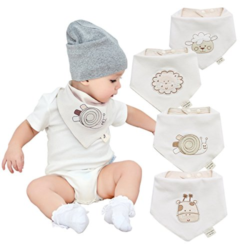 Bavoirs bandana bébé pour garçons et filles de 4 pack-100% coton bavoir bébé bandana bavettes