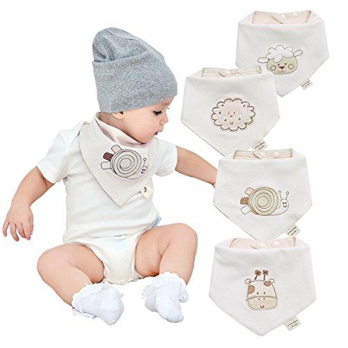 Bandanas bebe baberos para niños y niñas de 4 pack-100% algodón, suave y absorbente, hipoalergenico y bordado bebe unisex bebe denticion baberos Baba baberos