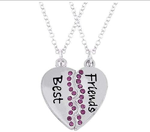 YZXYZH Collar Mejores Amigos para Siempre Collares Colgantes De Moda Rosa Rosa Cristal Corazón Roto Collar Mujeres BFF Joyería De La Amistad Collares