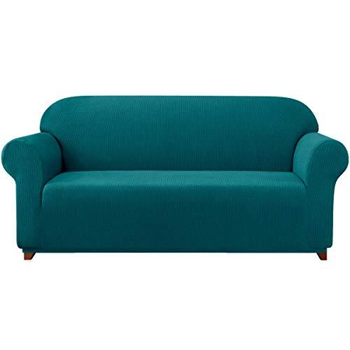 subrtex 1 Pieza Funda de Sofá Poliéster Elástica Cubierta de Asiento Forro de Sofá Doméstico (2 Plazas, Azul Verde)