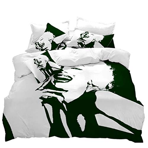 VITALE Duvet Cover Queen Size,Marilyn Monroe Printed Quilt Cover Set,3 Pieces Bedding Set Matching Pillowcases,for Home Decoratives of Bedroom