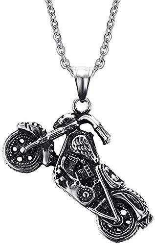 WYDSFWL Collar Mujer Hombre Moda para Hombre Vintage gótico Ghost Rider Colgante Acero Inoxidable Motor de Motocicleta Bicicleta Colgante Collar