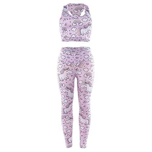 BenCreative - Conjunto de ropa deportiva para mujer   chaleco de moda con estampado de unicornio y leggins ajustados al gimnasio, Mujer, rosa, large