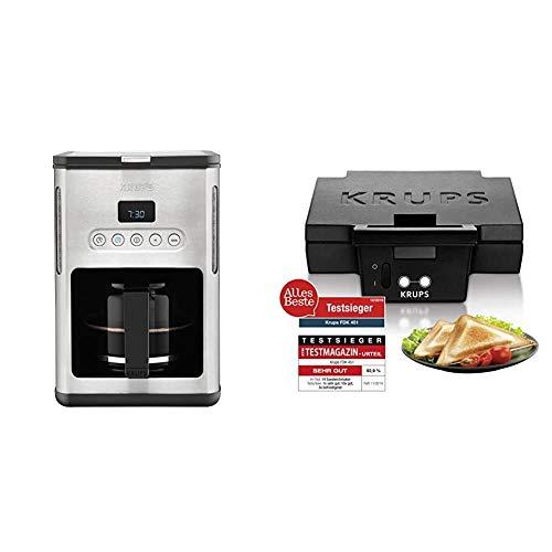 Krups KM442D Premium Filter-Kaffeemaschine, 10-15 Tassen, 1,000 W, edelstahl / schwarz & Sandwichmaker FDK451 | Antihaftbeschichtete Platten | Aufheiz- und Temperaturkontrollleuchte | 850W