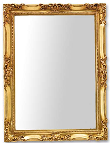 MO.WA Espejo de Estilo Clasico con Marco de Madera Pan de Oro. cm. 62x82 Hecho a Mano.