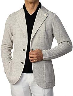 ラルディーニ LARDINI ニットジャケット コットン リネン メランジ メタル釦 JRLTM56-EI54001