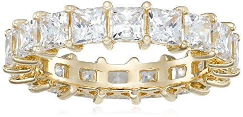 Yellow-Gold-Plated Sterling Silver Princess Cut All-Around Band Ring made with Swarovski Zirconia (5 cttw), Size 6