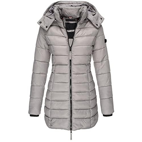 Cappotti invernali Per Le Donne Tinta unita Media Lunghezza Slim Fit Caldo Giù Imbottito Giacca Zip Con Cappuccio Cappotto Con Tasca, grigio, XL