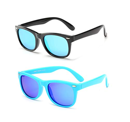 FOURCHEN Gafas de sol flexibles de goma polarizadas para niños para niñas de 3 a 10 años de edad (blue lens black+blue lens blue)