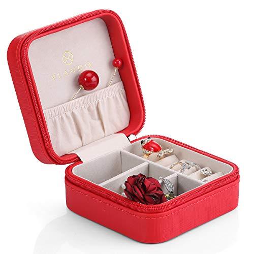 Vintage gift for Women Vlando Jewelry Box Faux Leather Medium Organizer Pink