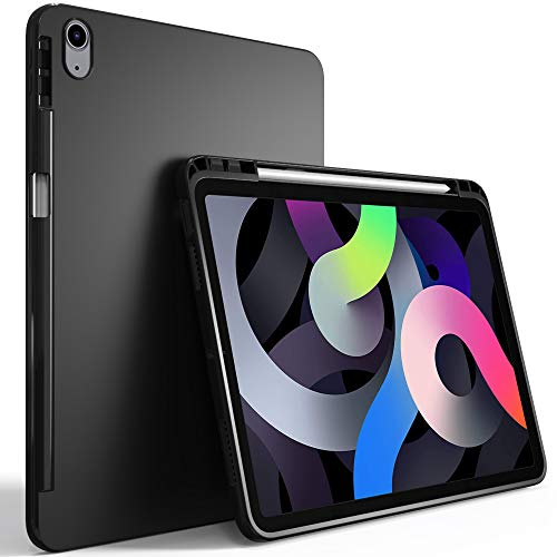 PUXICU New iPad 10.9 (iPad Air 4th Generation 2020) Case,Slim Design Matte TPU Rubber Soft Skin Silicone Protective Cover with Pen Slot,Support Apple Pencil 2 Charging-Black