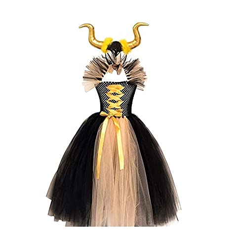 Yokbeer Disfraz Infantil de Maléfica Bruja Vampiresa Payaso Niña Princesa Vestido con Devil Horns Tutú Tul Ropa de Fiesta Actuación Halloween Fancy Cosplay Costume Carnaval Party Alice Band Disfraces
