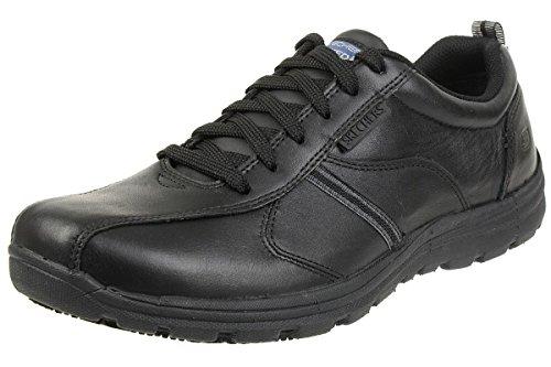 Skechers Hobbes-Frat, Zapatos de Seguridad Hombre, Negro (BLK Black Leather), 43 EU