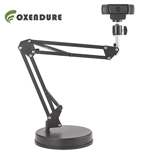 OXENDURE Webcam Stand 22 inch Suspension Boom Scissor Arm Stand with Base, Compatible with Logitech Webcam C925e C922x C922 C930e C930 C920 C615, GoPro Hero 8/7/6/5, Arlo Ultra/Pro/Pro 2/Pro 3