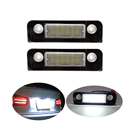 Luces de matrícula de coche 2 unids compatible con FORD LED Lámpara de licencia 12V Número blanco Luces de placa No hay luces de error de error compatibles con Ford Fiesta Fusion Mondeo MK2 Universal