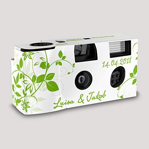 Hochzeitskamera Einwegkamera Flower grün mit Personalisierung, ISO 400, 27 Aufnahmen, Blitz