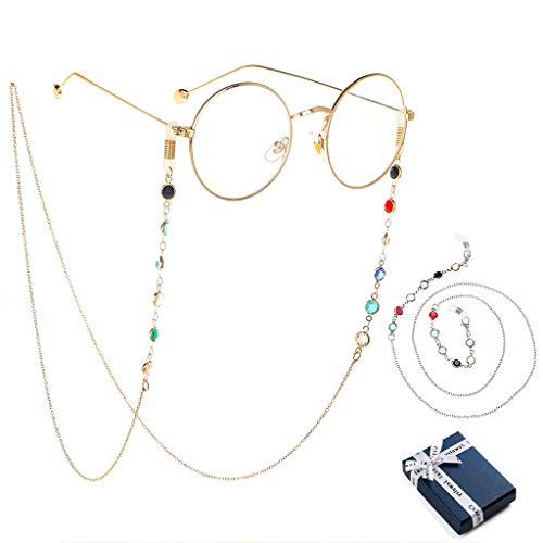 2 Stück Brillenkette, Brille Kette mit Farbige Perlen /kette Brillenband/ Brillenketten Schnur/ Kette sonnenbrille/ Lesebrillen Perlen Brillenband/Hals Lanyard für Damen Geschenk(Silber und Gold)
