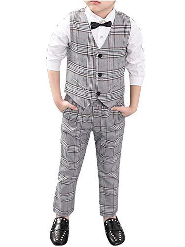 Wenchuang Junge Frühling und Sommer Hochzeit Pianist Gitter 3 Stück Anzug Kleid Grau 100