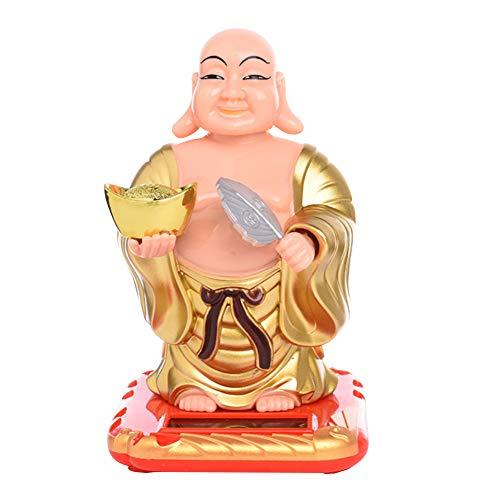 Dashboard Toy Solar Powdered Buddha Statue Flip Flap Pot Swing Toy Car Home Office Ornament