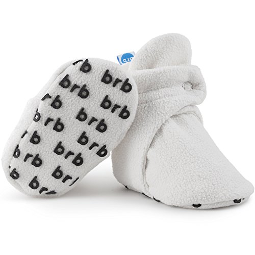 BirdRock Baby Fleece Booties Bio Baumwoll-Futter & rutschfeste Greifer (US 1, Cream)