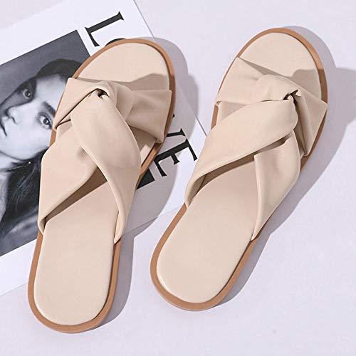 LNLJ Pantofole da Donna, Ciabatte da Spiaggia, Sandali e Ciabatte da Donna, Stile Romano-Beige_37, Sandali massaggianti per Piedi Fitness