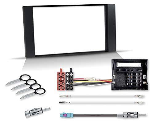 Kit di montaggio con mascherina autoradio 2 DIN Quadlock su ISO, adattatore antenna con alimentazione phantom...