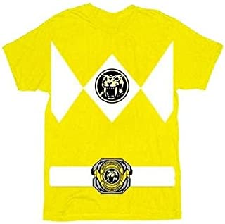 The Power Rangers Yellow Rangers Costume Adult T-shirt Tee,Small
