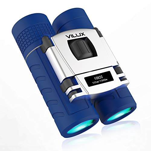 VILUX Binoculars for Kids, 10x22 Folding High Powered Compact Binoculars for Outdoor Bird Watching, Theater and Concerts, Hunting and Sport Games