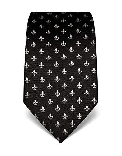 Vincenzo Boretti Herren Krawatte reine Seide Fleur-de-Lis Muster edel Männer-Design zum Hemd mit Anzug für Business Hochzeit 8 cm schmal/breit schwarz