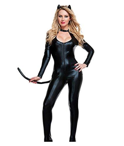 YOUJIA Mujer Disfraz de Catwoman Enterizo Mono Catsuit del Cremallera Gatubela Bodysuit Halloween Cosplay Traje, Negro