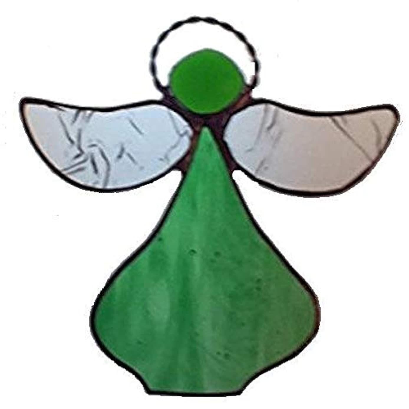 Artic Fox Handcrafted Angel (Green) Suncatcher Stained Glass Ornament
