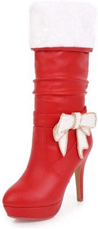 HAOLIEQUAN Office Office Office Lady High Heels Stiefel Bowknot Warme Schuhe Winter Kniehohe Stiefel Damen Fashion Party Schuhe Größe 32-43, Rot, 9.5  bbba17