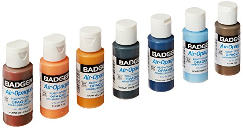 Badger Air-Brush Company Air-Opaque Airbrush Ready Water Based Acrylic Paint, 1-Ounce Each, Set of 7