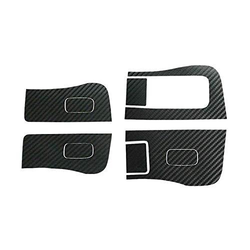 PQZATX Carbon Aufkleber für Tesla Model 3 Innenfenster Button Panel Schalter Wraps Anti-Wear Anti-Schmutz (4 StüCk-Schwarz)