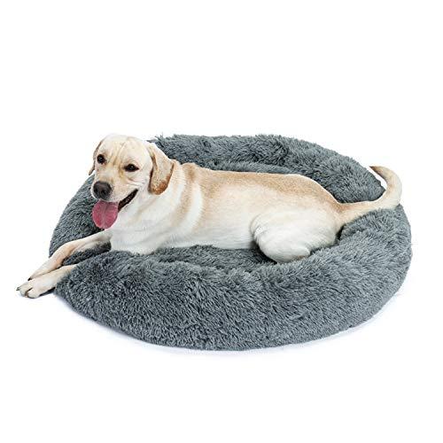 Eono Essentials Hundebett Hundesofa Katzenbett Kuschel Kissen Weicher Plüsch Krapfen Abnehmbarer Waschbar Rundes Haustierbett für Hunde Katzen Schlaf Grau L