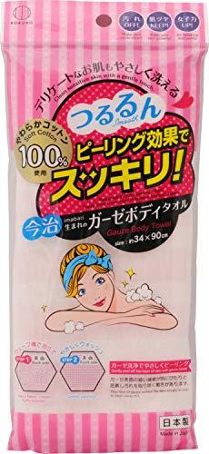 小久保工業所 ガーゼボディタオル (約34×90cm) ピーリング効果 スッキリ洗浄 (お肌にやさしい綿100% / お風呂用) コットンガーゼ やわらかい KH-062 ピンク