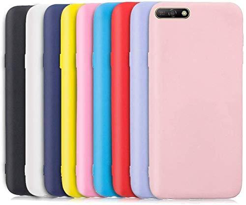 TVVT 9X Funda para Huawei Y6 2018, Ultra Delgado Color Carcasa Premium Ultraligero Suave Silicona TPU Protectora Espalda Case Cover Anti-Rasguños Anti-Choque