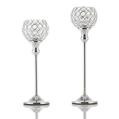 VINCIGANT Sparklers Silver Crystal Tea Light Candle Holders/Wedding Candelabra for Christmas Dining Room Coffee Table Decorative Centerpiece,Set of 2