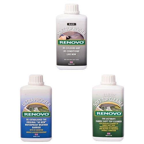 Ronovo Bundle enthält Soft Top Reviver 500 ml, Renovo Ultra Proofer und Soft Top Fabric Cleaner, Schwarz