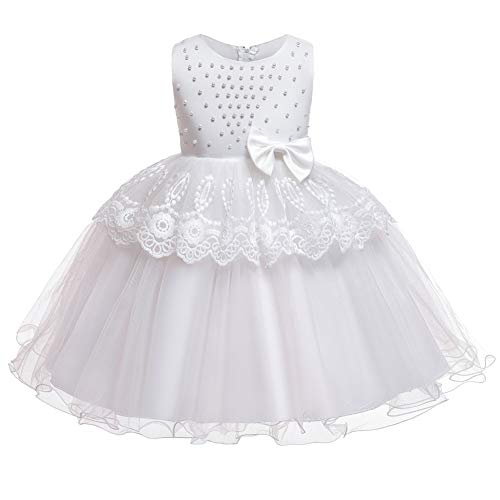 WAWALI Vestidos de flores para bebé, bautizo, recién nacidos, bautismo, ropa de princesa, tutú, cumpleaños, con cuentas, vestido de lazo